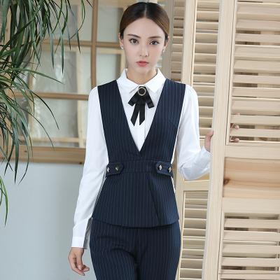 新款秋款职业装马甲套装女长袖衬衫酒店前台工作服美容师店员工装