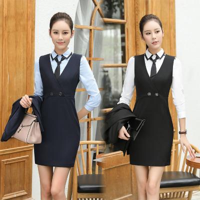 通勤OL时尚黑色女装连衣裙 职业装 美容化妆店员服装 酒店工作服