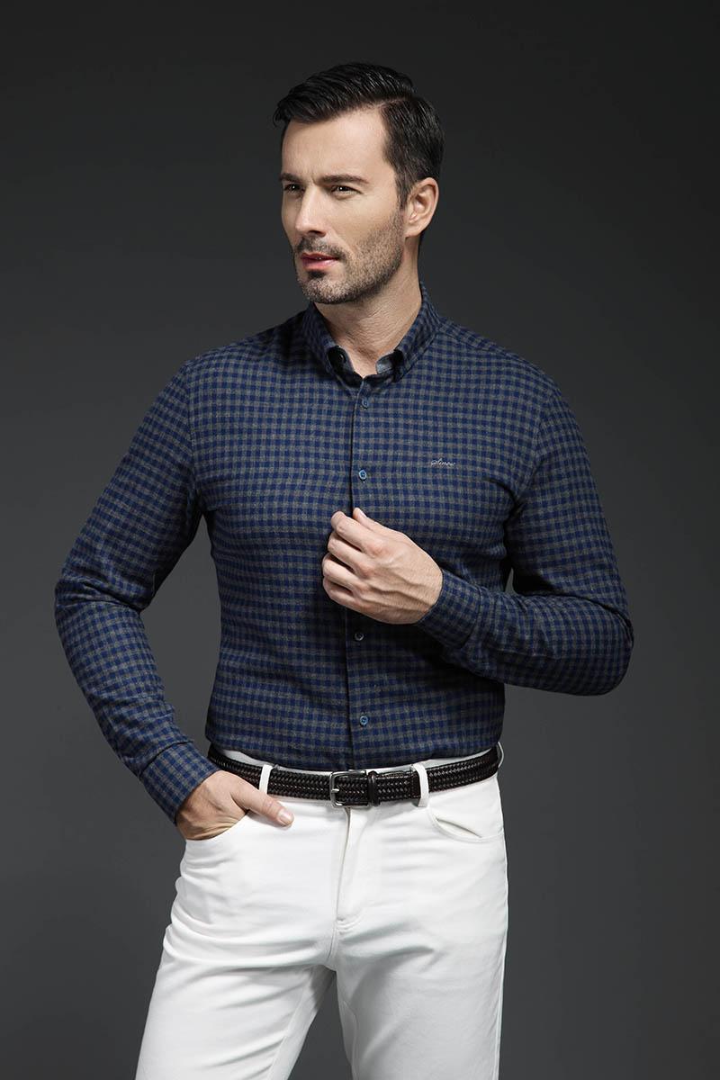 男士商务休闲长袖衬衫定制修身男装格子衬衫量体定做 上班结婚新郎装
